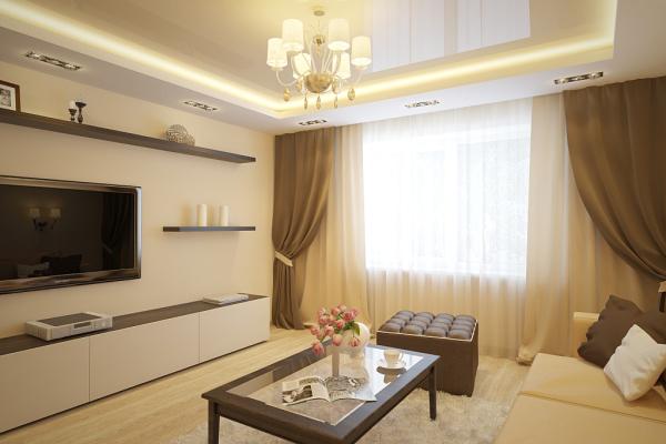 Дизайн квартиры в коричнево бежевых тонах