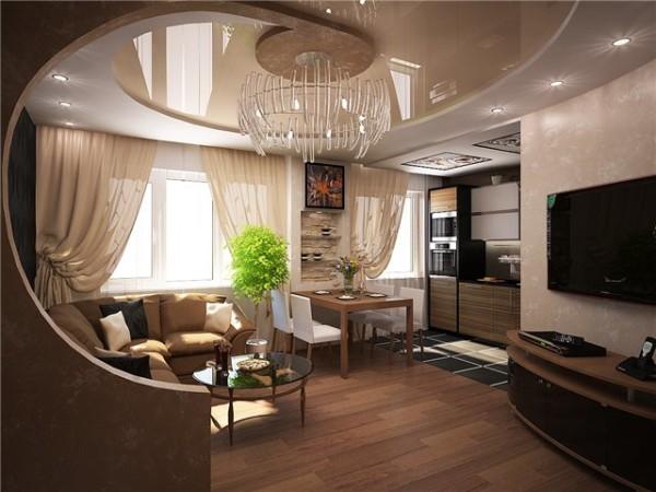 Дизайн гостиной с кухней и прихожей