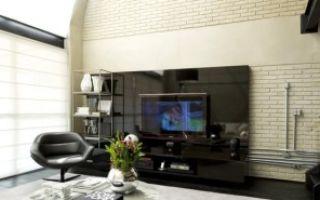 Дизайн интерьера гостиной с кирпичной стеной