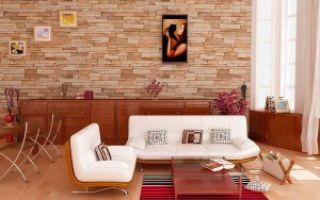Натуральный и искусственный камень в интерьере гостиной