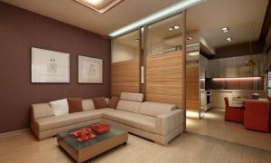 Дизайн проект гостиной совмещенной с кухней