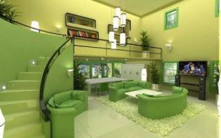 Зеленая гостиная — фото дизайна и обзор