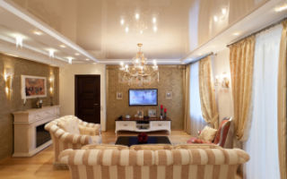 Как выбрать натяжные потолки в гостиную комнату?