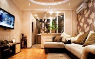 Зал совмещенный с гостиной комнатой