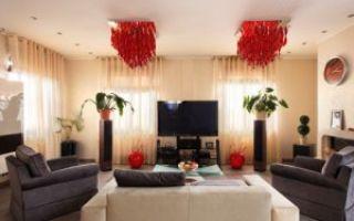 Настенные и потолочные светильники для гостиной — модные тенденции