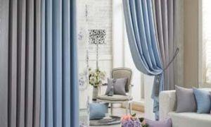 Двухцветные шторы в гостиную комнату