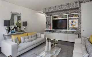 Серые обои в гостиной — оформление и дизайн