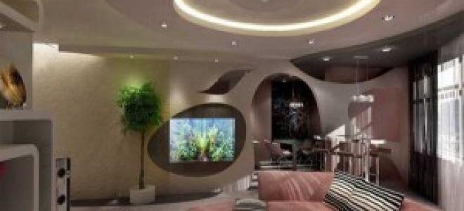 Оформление потолка в гостиной — фото и интригующие подробности