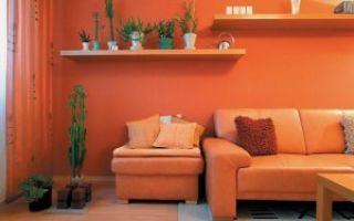 Оранжевая гостиная комната — позитивные тона в дизайне