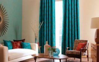Бирюзовые шторы для гостиной — как сделать комнату уютней?