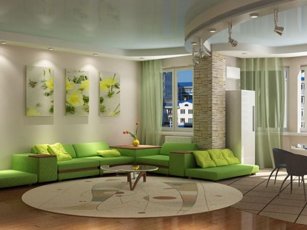 зеленый диван для гостиной