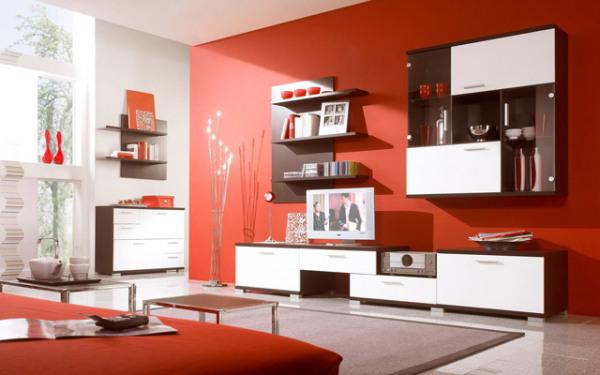 гостиная в красных тонах