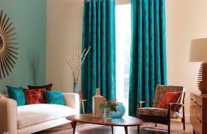 бирюзовые шторы для гостиной