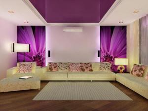 Гостиная в фиолетовых тонах — фото и советы по интерьеру
