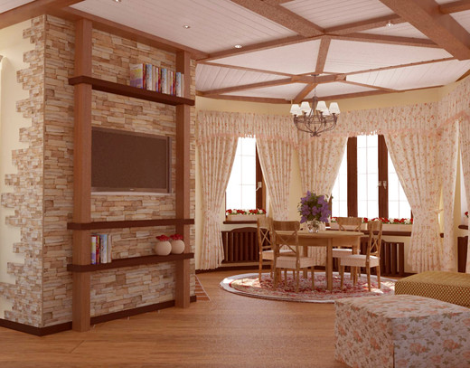 дизайн гостиной в стиле кантри