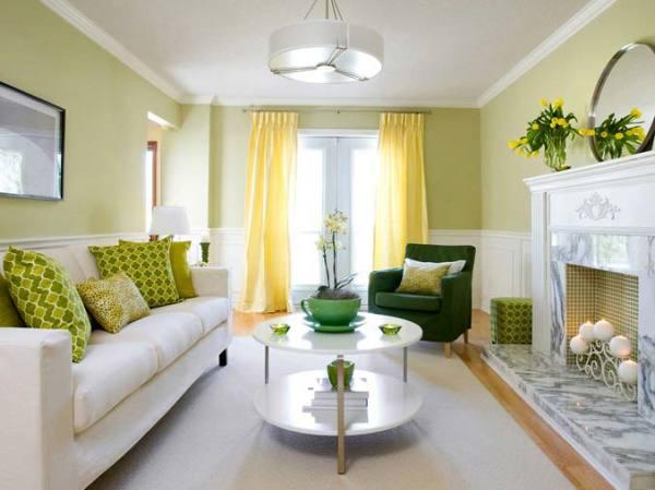 Гостиная в зеленом тоне