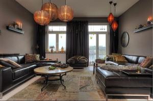 Гостиная в коричневых тонах — стильный вариант!