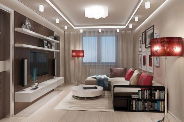 оформление гостиной 17 кв м