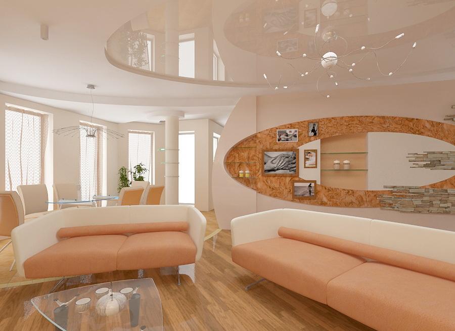 Гостиная в теплых тонах - секреты дизайна