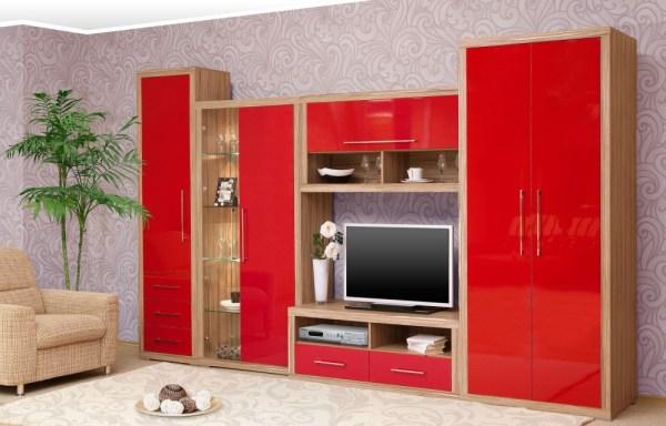 современная красная гостиная