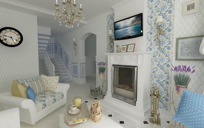 Стиль прованс в интерьере гостиной — дизайн комнаты