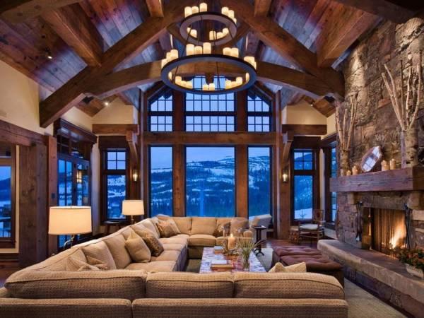 гостиная в стиле шале