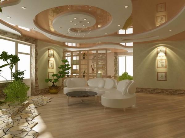 красивый дизайн потолка в гостиной