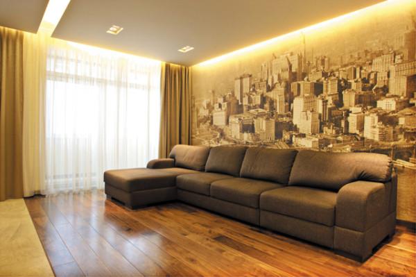 дизайн фотообоев в гостиной