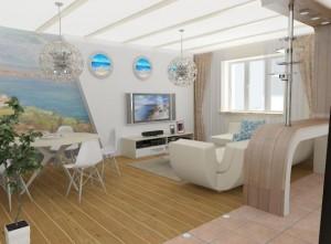 Гостиная в морском стиле — обустраиваем комнату