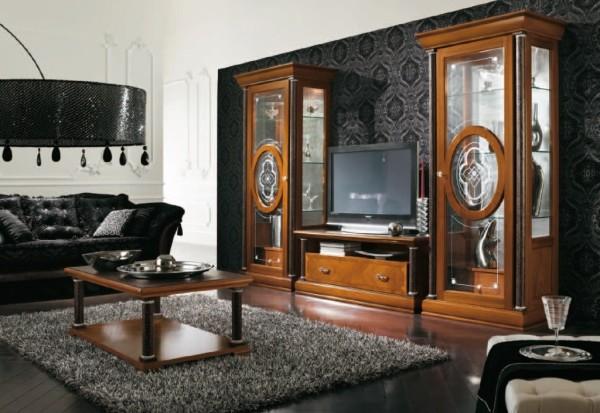 классическая стенка в интерьере гостиной