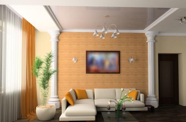 красивый потолок в интерьере гостиной