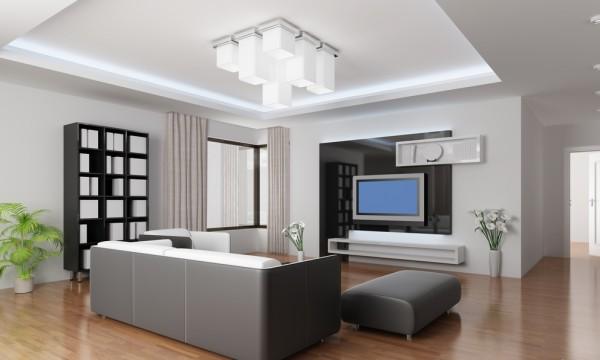 красивый потолок в гостиной