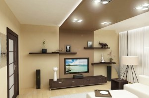 дизайн потолка в гостиной комнате