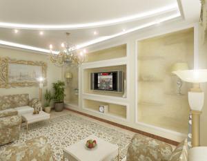 Современная классика в гостиной - красивый дизайн