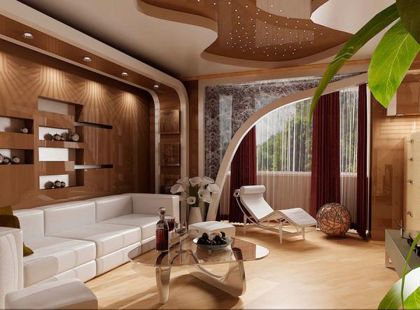 коричневый потолок в гостиной