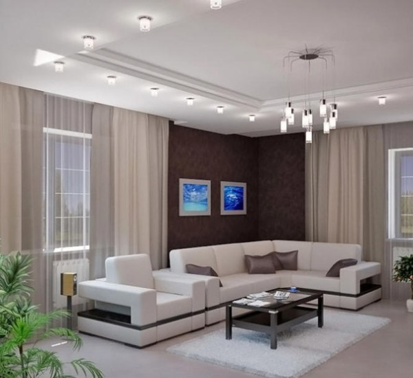 гипсокартонный потолок в гостиной