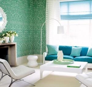зеленые обои в гостиной