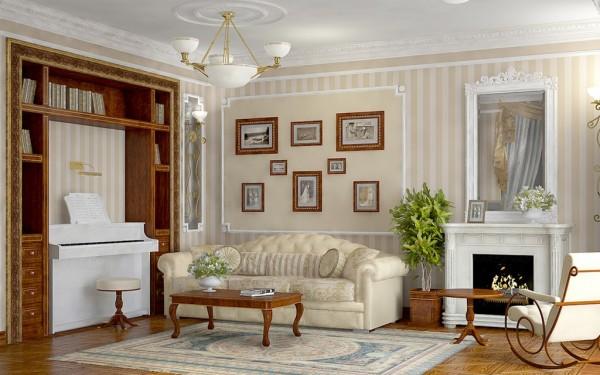 интерьер гостиной в колониальном стиле