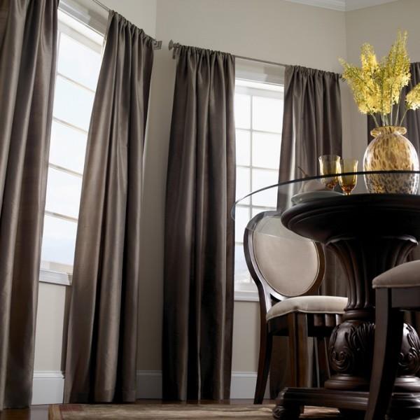 шторы для гостиной в коричневом цвете