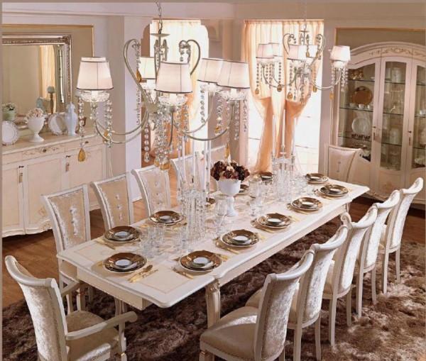 большой белый обеденный стол