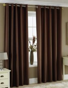 коричневые шторы для  гостиной