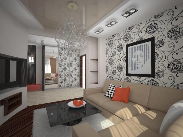 оригинальный дизайн обоев для гостиной
