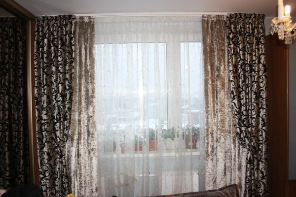 двойные портьеры для гостиной