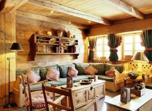 Гостиная комната в деревенском стиле - дизайн интерьера