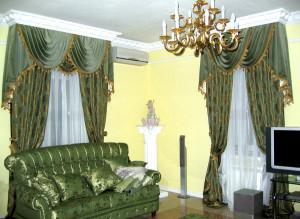 Элитные шторы в гостиной - все нюансы интерьера