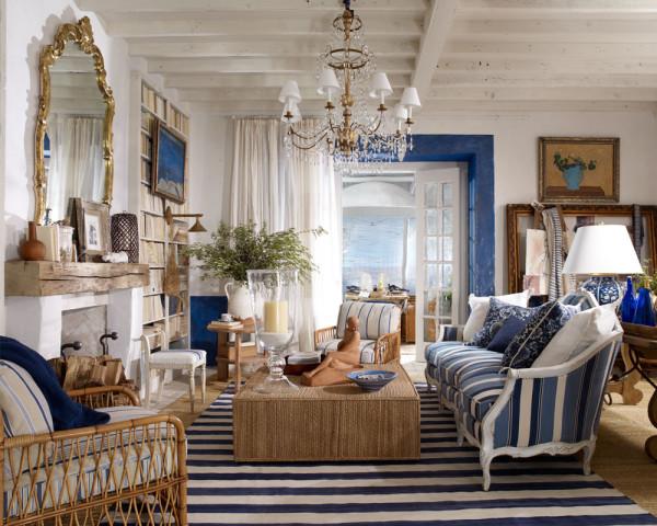 дизайн гостиной в морском стиле