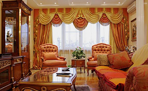 красивые элитные шторы в гостиной
