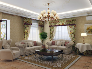 люстра в интерьере гостиной