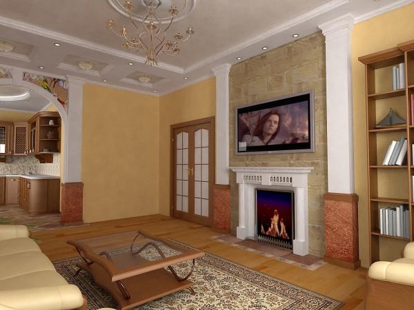 электрокамин в интерьере гостиной