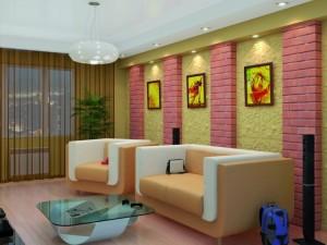 кирпичные стены в оформлении гостиной